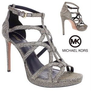 Michael Kors Sandra Silhouette Platforms Black Silver Gold Leather Sandals Heel